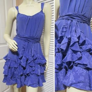 REBECCA TAYLOR Sleeveless Silk Dress Ruffle Purple